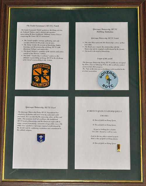 ROTC Patches and Crest, Framed, no date