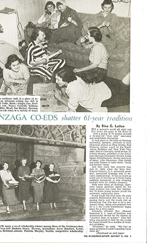 """Gonzaga Co-eds shatter 61-year tradition,"" The Spokesman-Review, Jan. 13, 1952."