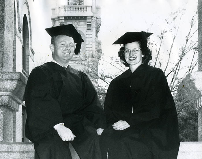First Husband and Wife to Graduate from Gonzaga, 1950, Bob and Betty Gallagher.