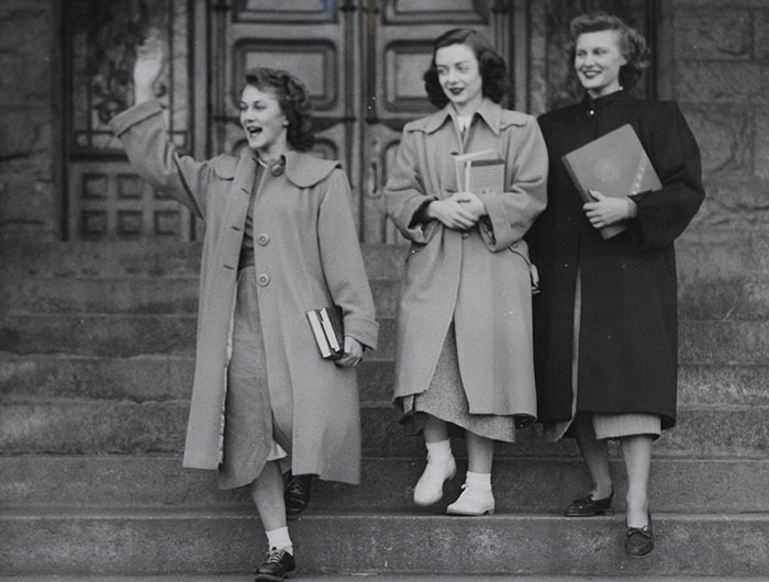 Girls on the steps of College Hall, 1940's
