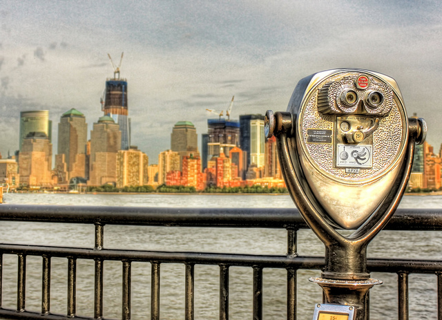Binoculars facing the New York City skyline
