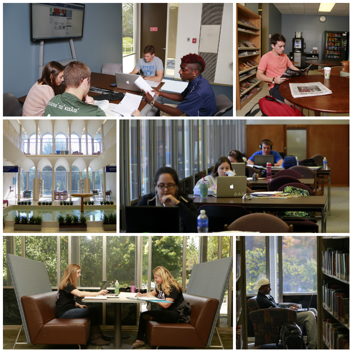 Shots of students studying in groups and individually throughout Irwin Library.