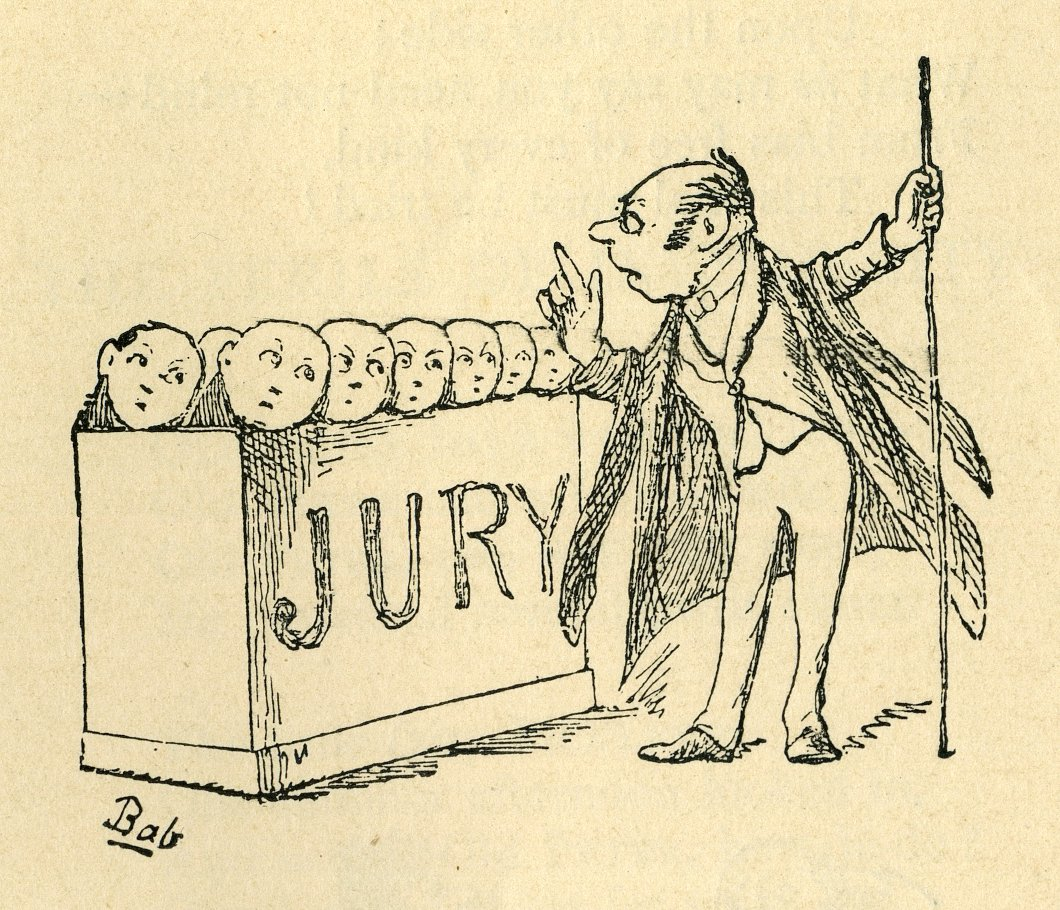 Comic of a well-dressed man speaking to a number of heads sticking out of a jury box.