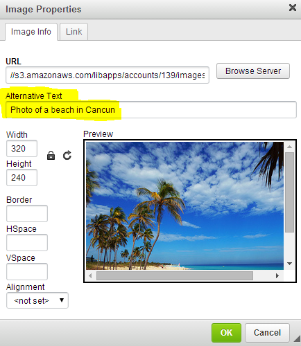 Screenshot of Image Properties window with alt text field highlighted