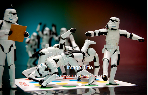 Image of storm troopers playing twister