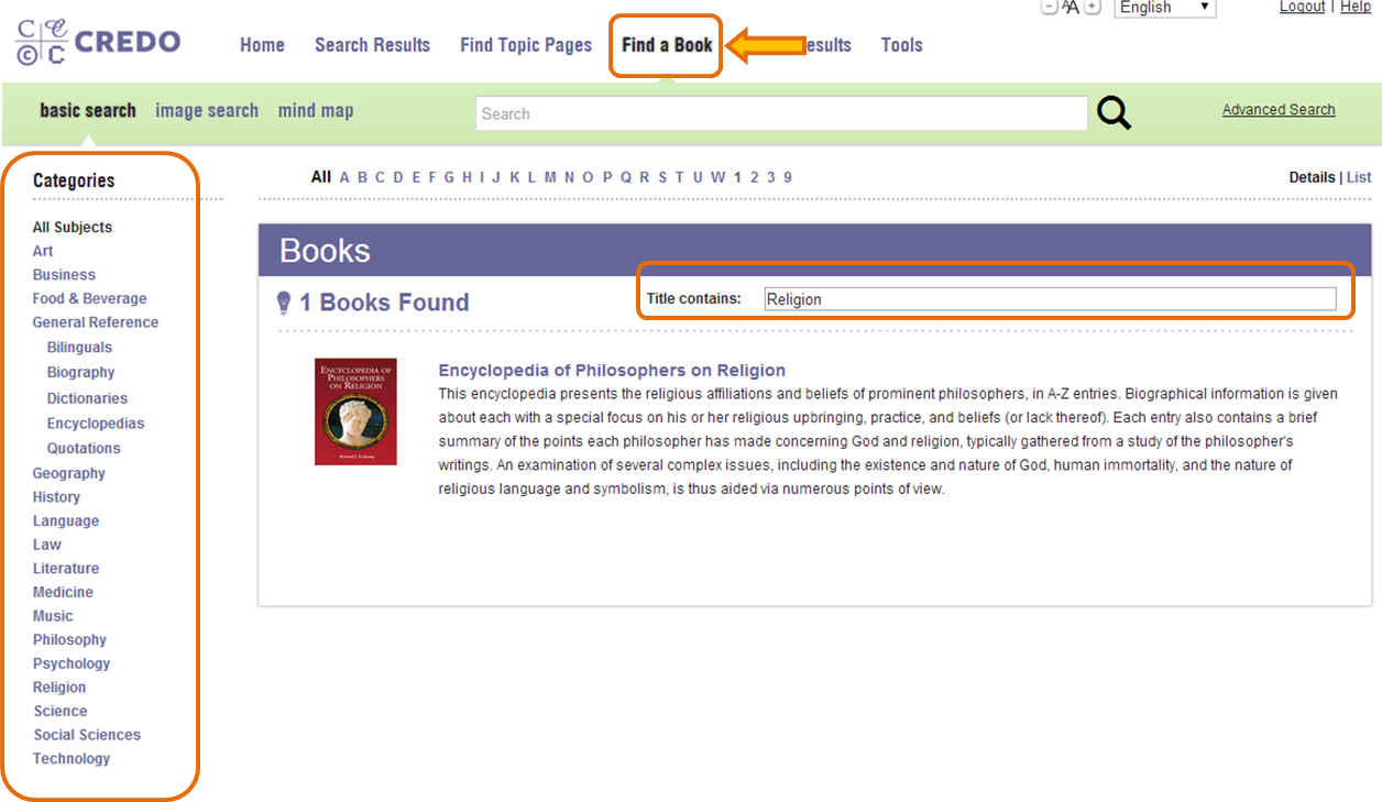 Main page for Credo Reference Find a Book feature