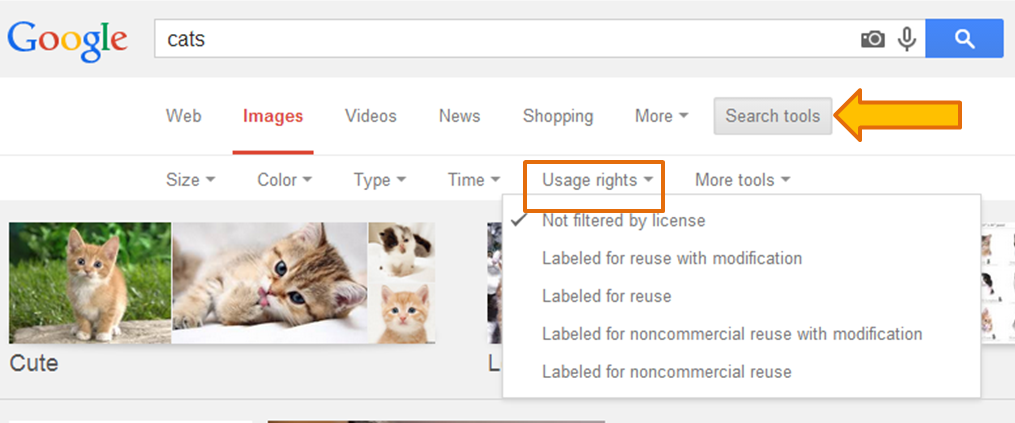 Google Images search with arrow pointing to Search Tools button