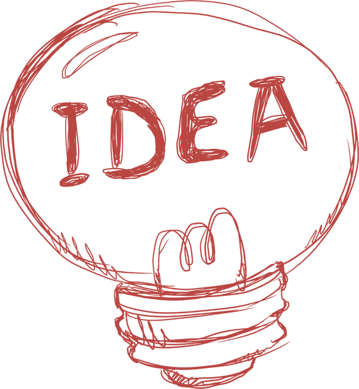 Sketch of a lightbulb with idea written on it
