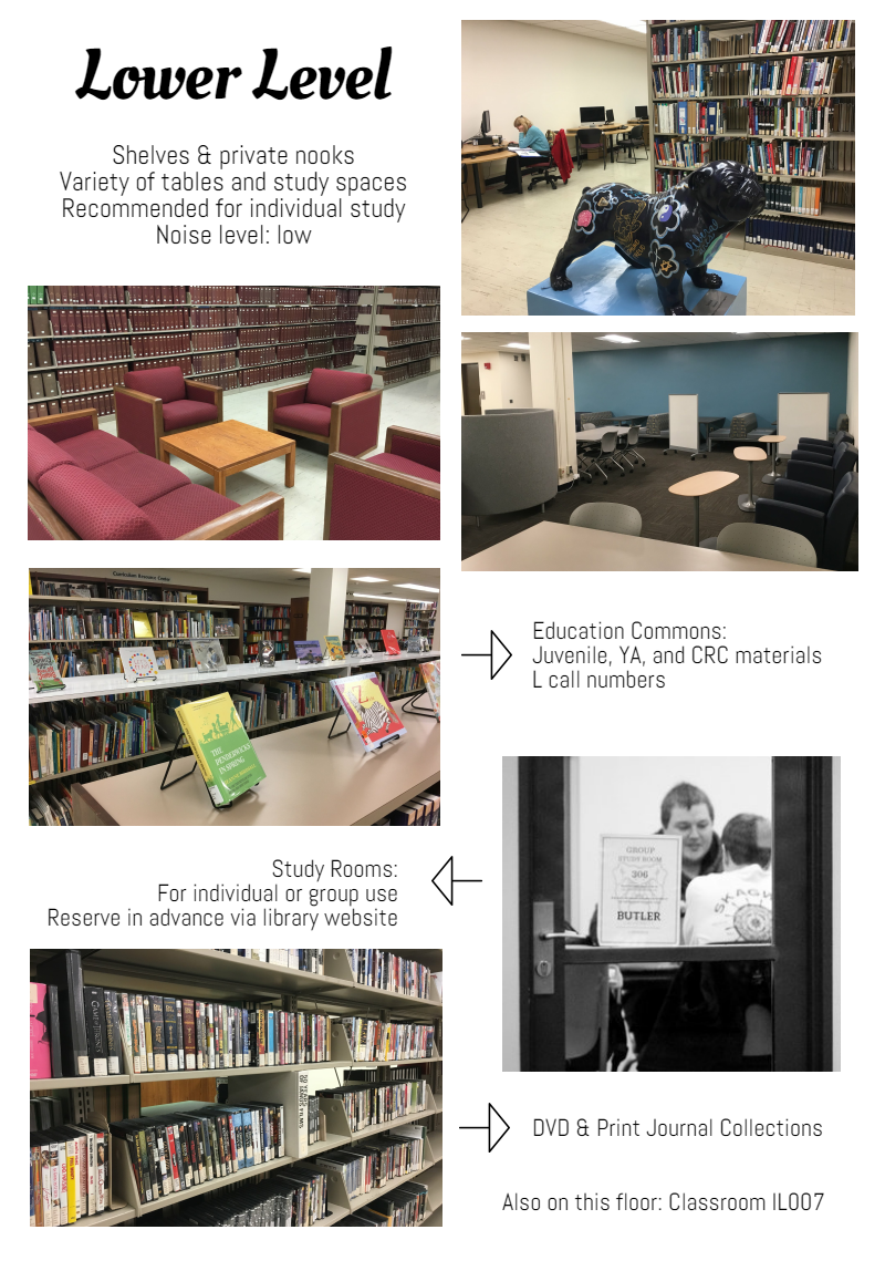 The lower level of Irwin library has shelves and private nooks with a variety of tables and study spaces. It is recommended for individual study and the noise level should be low. Also on this floor are the DVD and print journal collections, the Education collection, some study rooms, and the IL007 classroom.