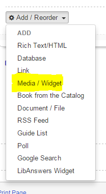 Add content option in LibGuides with Media/Widget selected