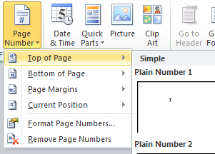 Screen shot of Microsoft Word's page Number option within the Header and Footer menu