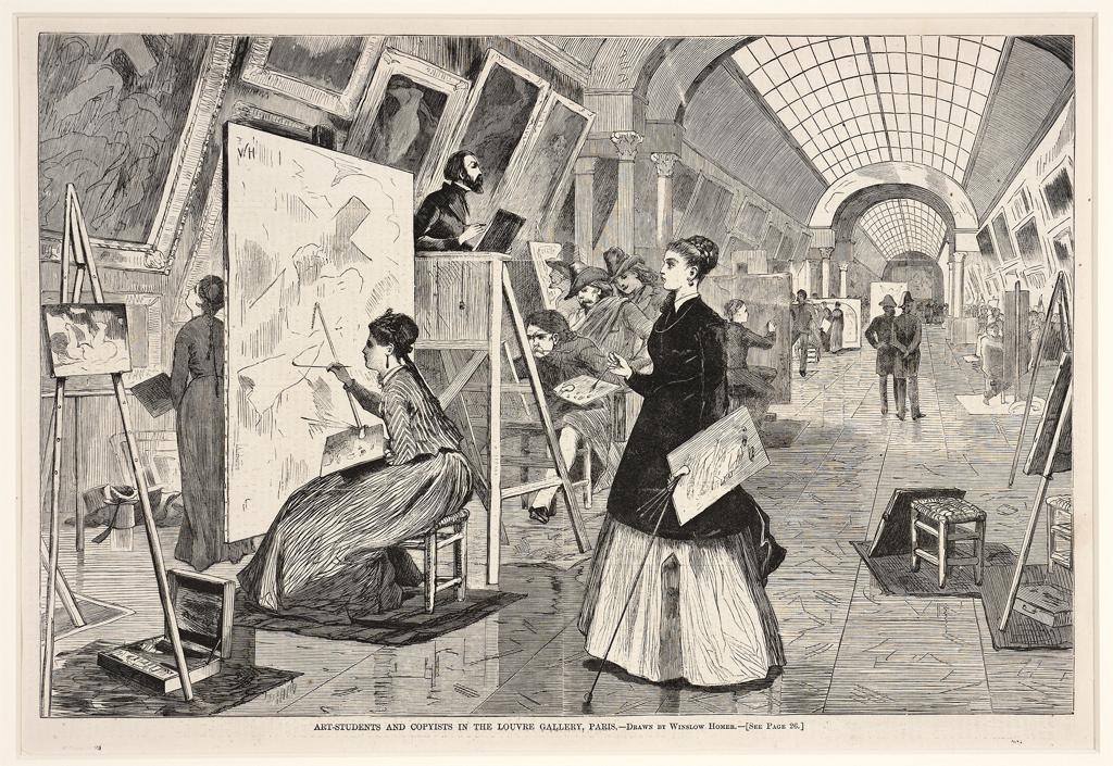 Image from ARTstor, Homer, Winslow, Art Students and Copyists in the Louvre Gallery, Paris, Drawn by Winslow Homer from Harper's Weekly, January 11, 1868, pg. 25, wood engraving printed in black on paper, 10 1/2 x 16 in.; 26.67 x 40.64 cm., Smith College Museum of Art, Northampton, MA , Accession Number	SC 1950:77-100