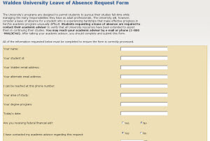 screenshot of LOA form