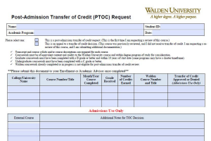 screenshot of transfer of credit appeal form
