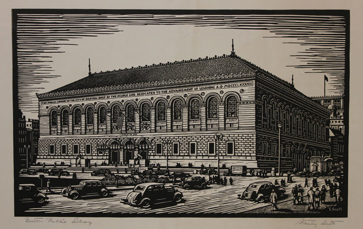 Boston Public Library drawing postcard