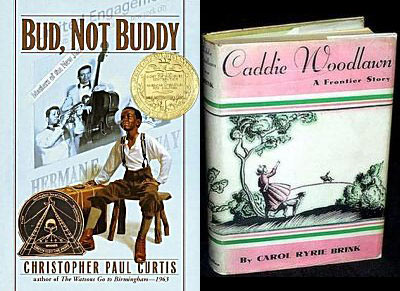 book jacket images of Caddie Woodlawn and Bud Not Buddy