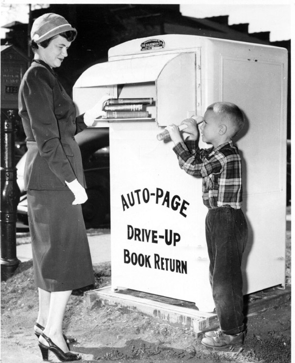 drive-up book return picture from 1950s
