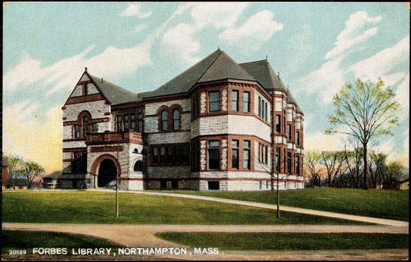 1890s image of the Forbes Public Library in Northampton, Massachusetts