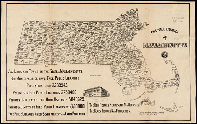 free public libraries of massachusetts map 1893