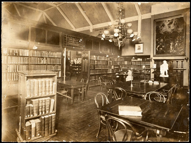 Newton Free Library reading room, circa 1890s