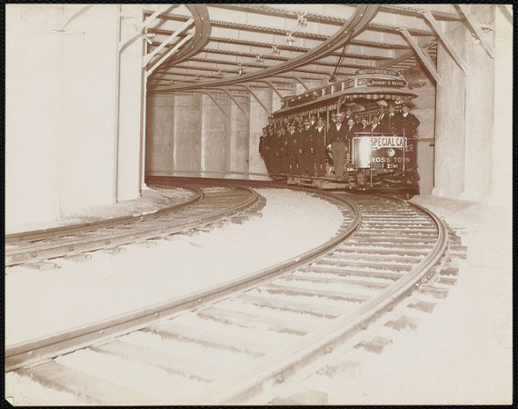At Park Street Station, a subway train takes a test ride in 1897