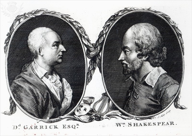 Engraving of David Garrick (1717-79), English actor and William Shakespeare (1564-1616), English playwright - Britannica ImageQuest