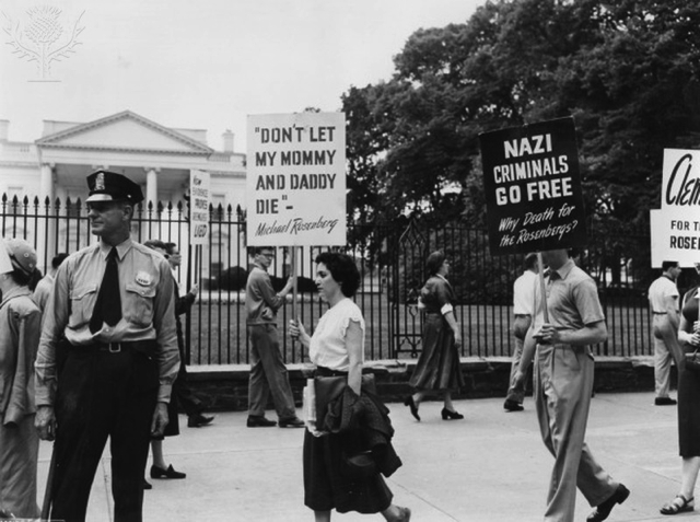 Demonstrators outside the White House demanding a reprieve for the Rosenbergs, 1953, Britannica Image Quest