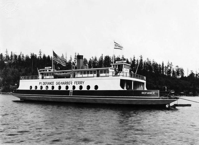 "Tacoma, Washington: April 30, 1927. The Pt. Defiance to Gig Harbor ferry boat. The ""Defiance"" is the largest ferry operating in Puget Sound. Britannica ImageQuest"