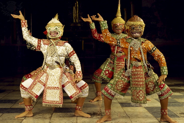 Traditional Khon dancers from Thailand - Britannica ImageQuest