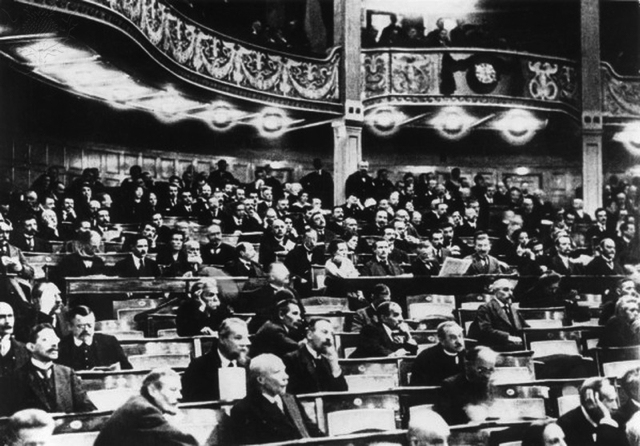 Weimar National Assembly at the National Theatre in Weimar, 1919. Britannica ImageQuest