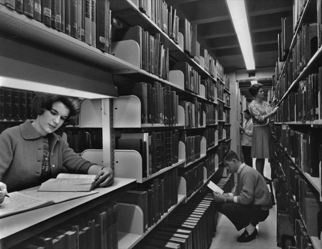 Britannica ImageQuest - University of Pennsylvania students searching the library in 1962