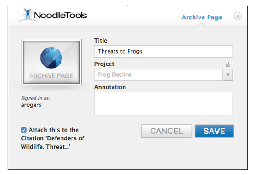 "NoodleTools will autofill the title into the Title field of the ""Archive Page"" pop-up"