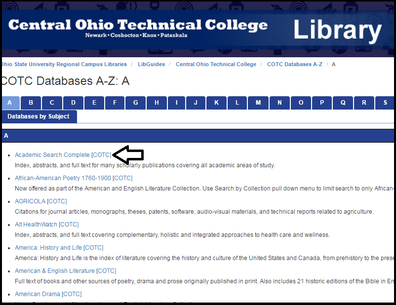 Image of the list of COTC databases.  The database Academic Search Complete is highlighted.
