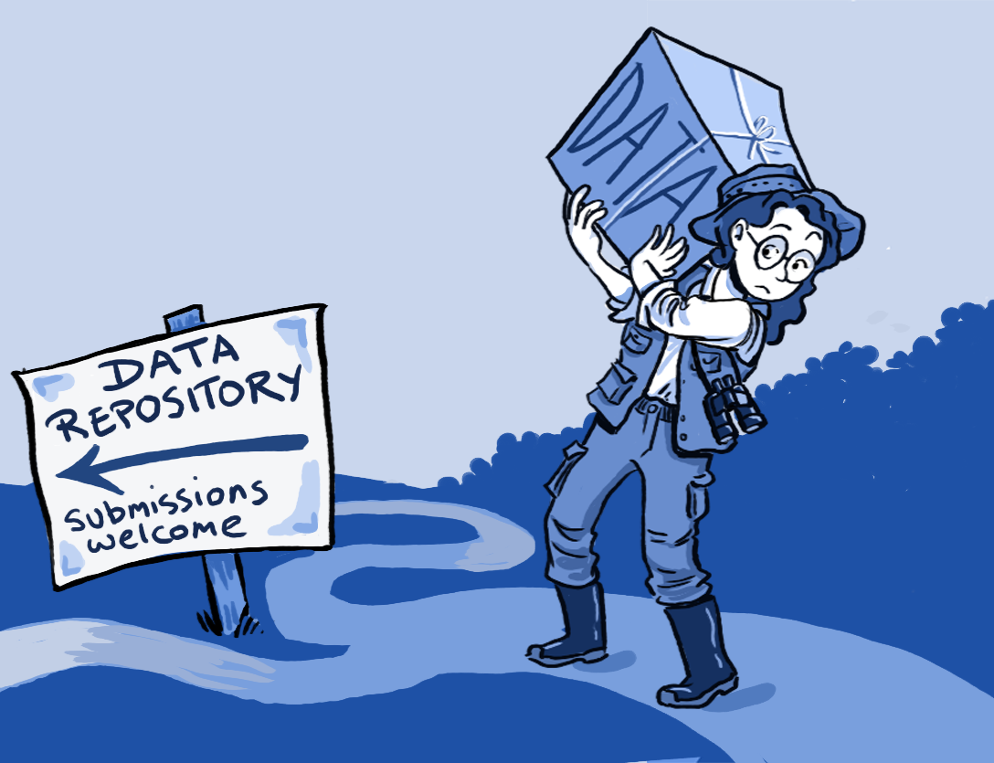 "Illustration of fieldworker carrying ""DATA"" box towards ""DATA REPOSITORY submissions welcome"" sign"