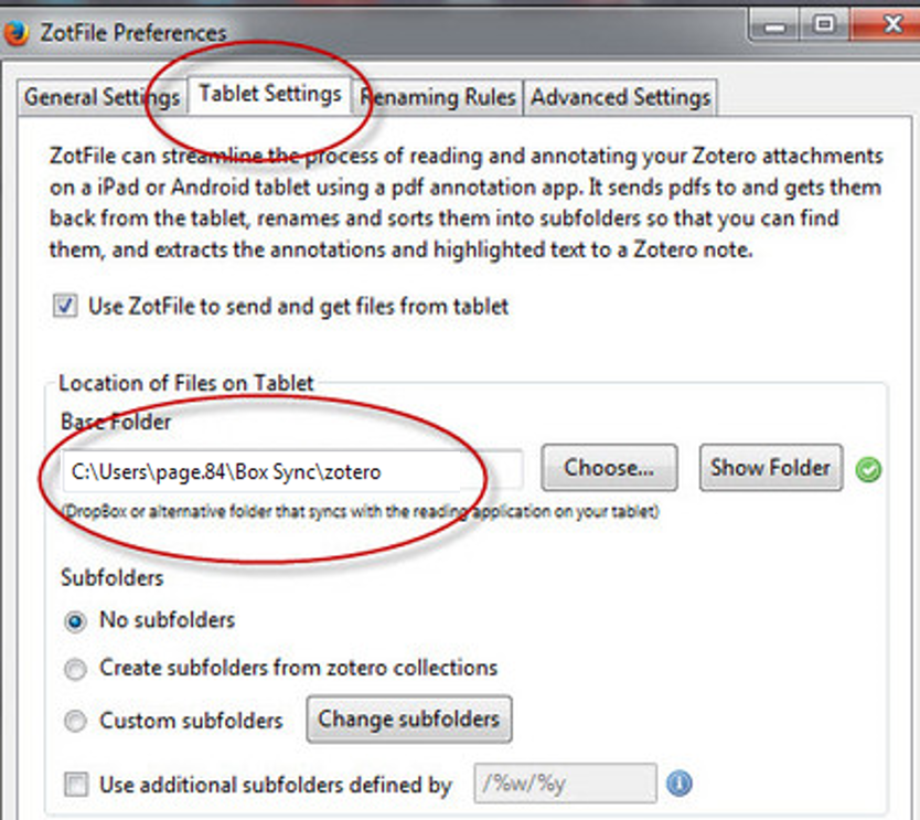 Zotfile settings