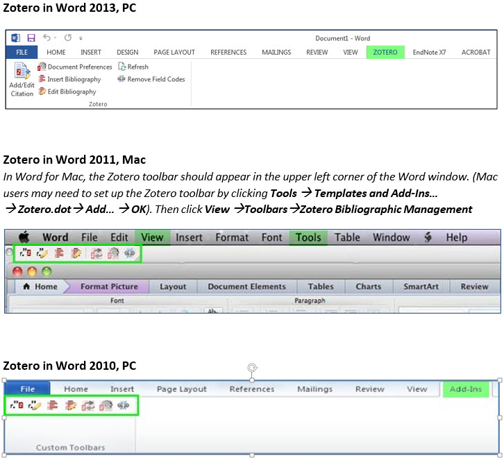 Zotero ribbon in Word