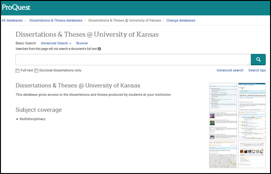 Database Of Thesis And Dissertation