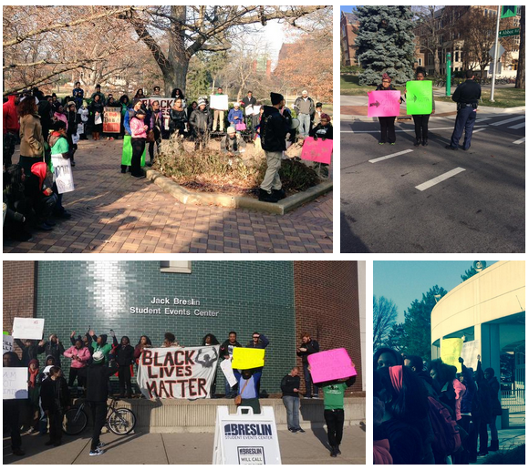 Various twitter images from Hands up at MSU protest on December 6, 2014, East Lansing, MI