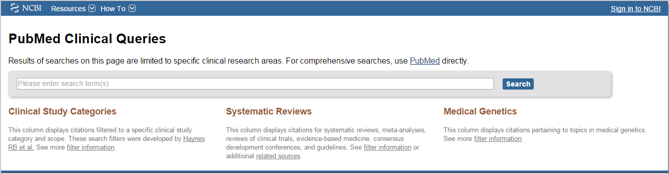 PubMed Clinical Queries Home