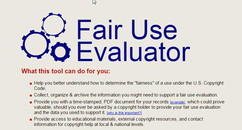 this is an image of a screenshot from the homepage of the fair use calculator