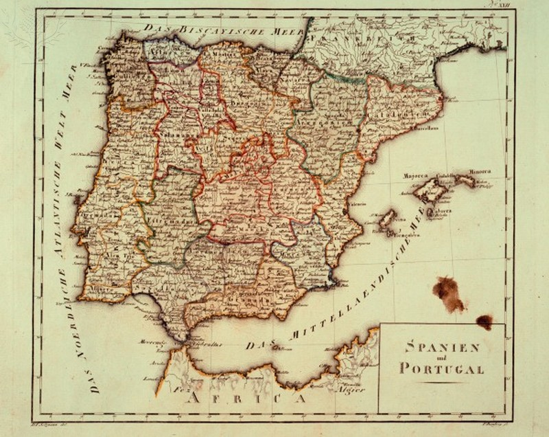 Historic Map of Spain & Portugal