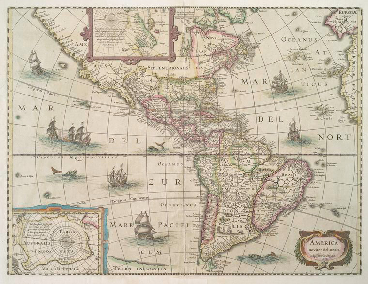 Map of the Americas in 1638