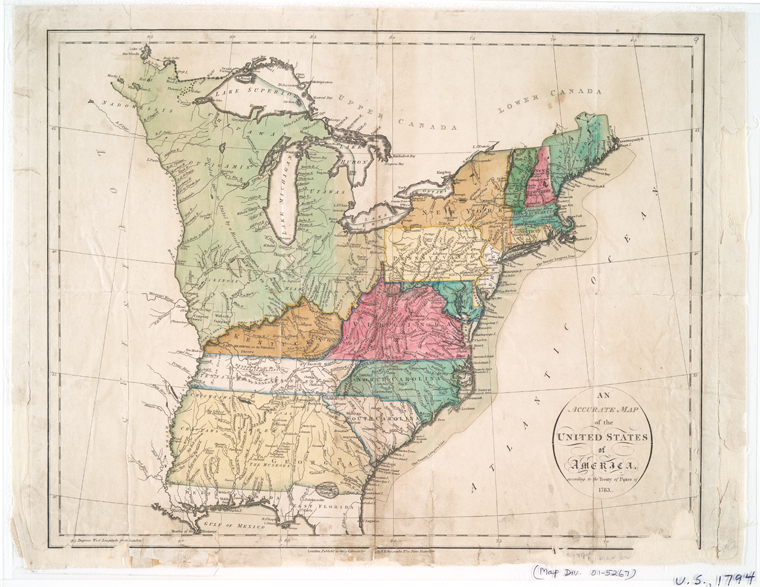 1783 map of United States