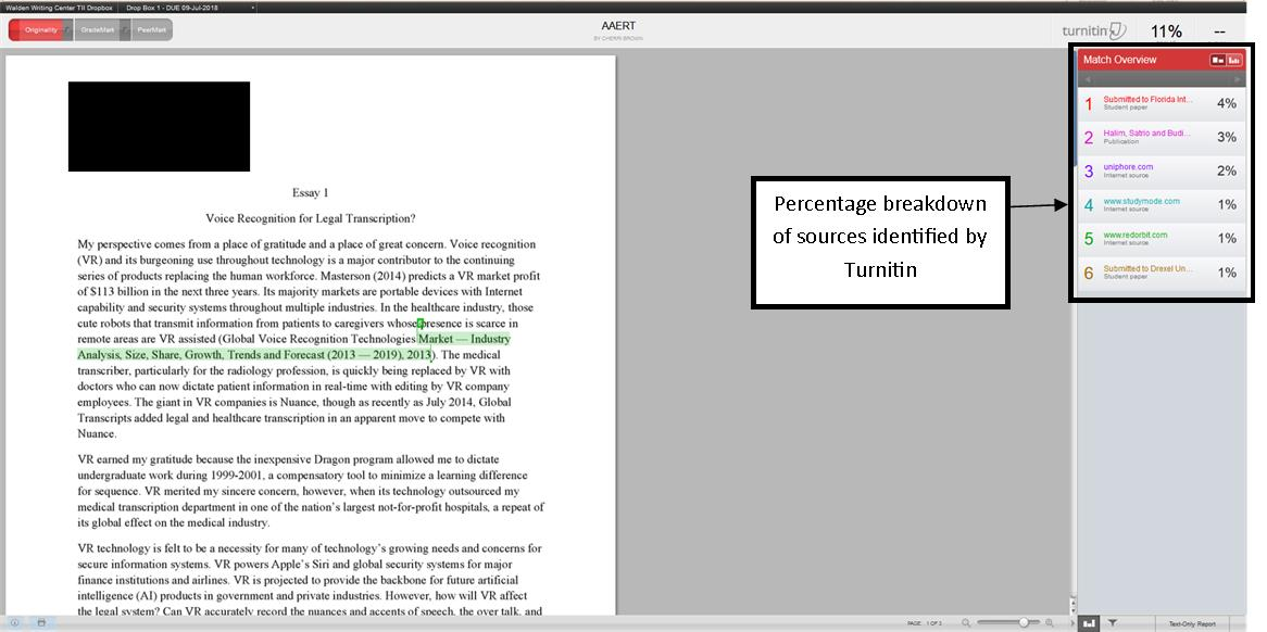 Image of Turnitin report showing the percentage breakdown of sources
