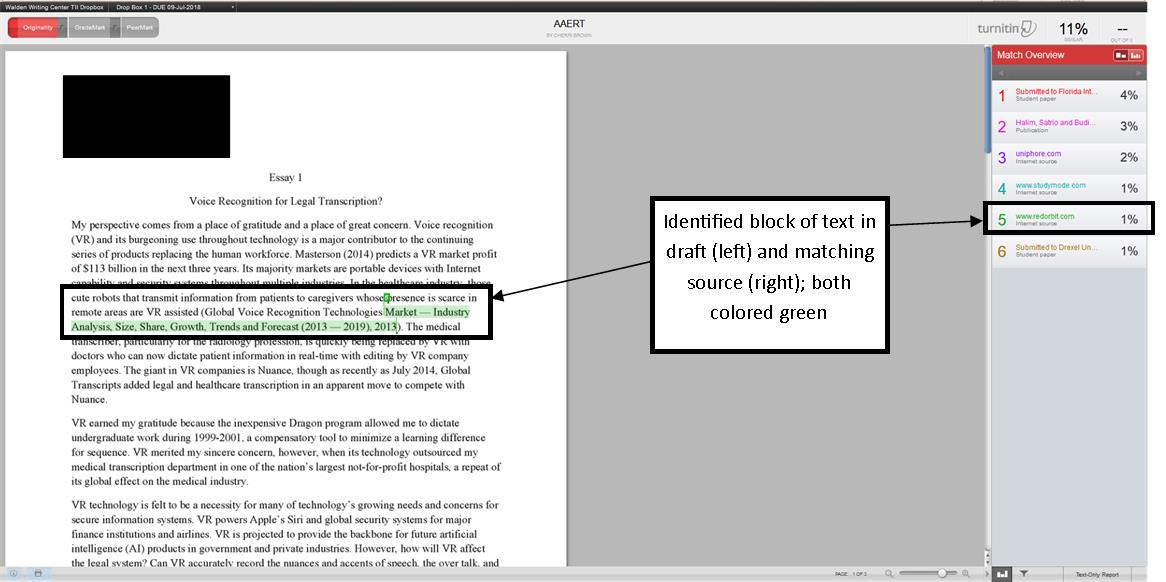 Image that shows the highlighted text in draft and the matching source identified by Turnitin