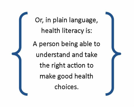 Or, in plain language, health literacy is:  A person being able to understand and take the right action to make good health choices.