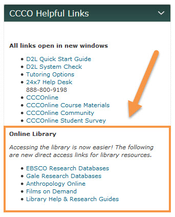 CCCO Helpful Links screen capture featuring CCCOnline Library database links