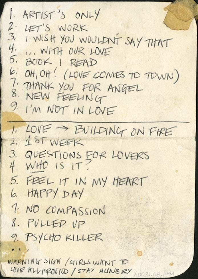 Talking Heads set list