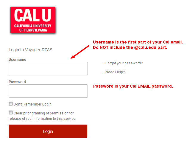 Cal U Library login screen