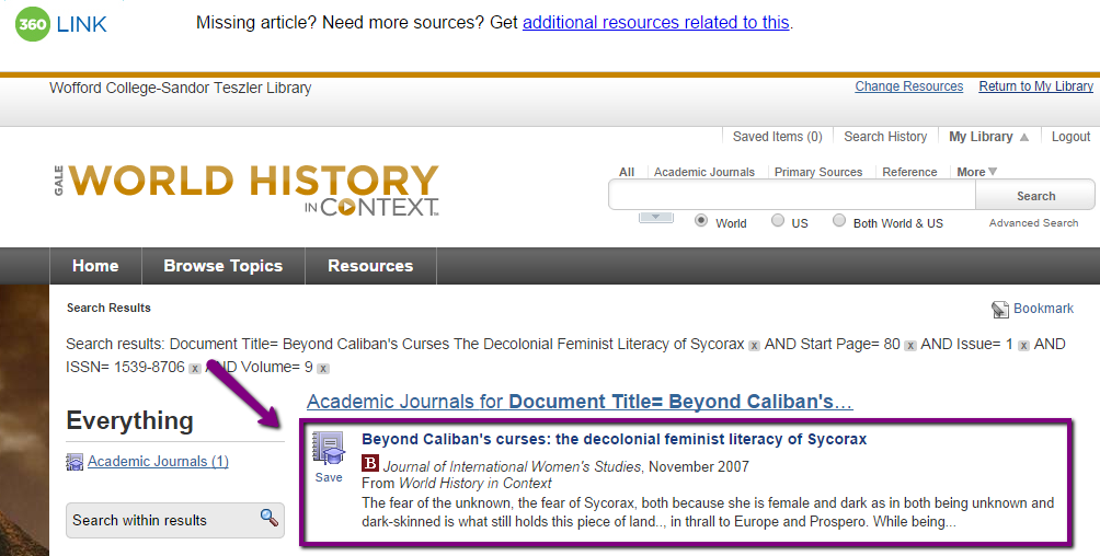 "Screen shot of the database World History in Context, with the article ""Beyond Caliban's Curses"" highlighted. We got to this link by following the ""Check for Full Text at Wofford"" link in MLA International Biography."
